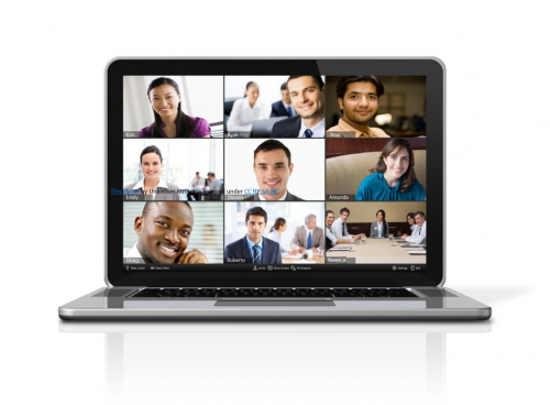 Smiling faces on video conference