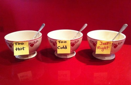 three bowls with signs from the fairy tale Goldilocks