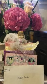 Flowers and gift basket